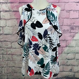 Halogen tropical white floral sleeveless blouse XL